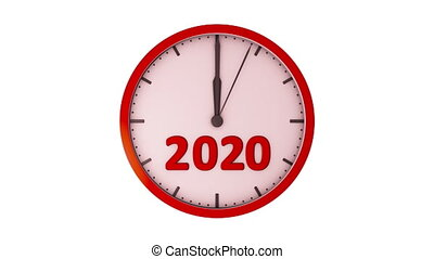 The clock 2020 - Movement of the second hand with the red...