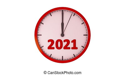 Movement of the second hand with the red sector on the clock with the figure 2020-2021. 3d rendering.