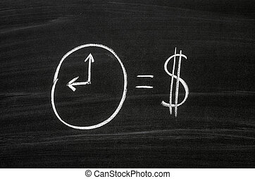 The clock and dollar sign drawed with white chalk on a blackboard