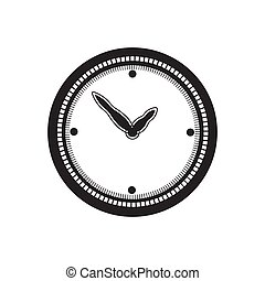 the clock icon is black on a white isolated background. Vector image
