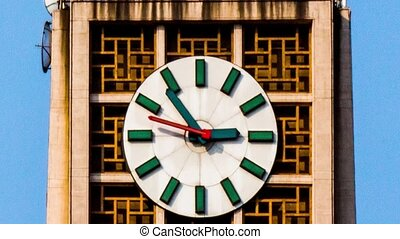 The clock on the famous tower in Xidan,Beijing,China