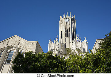 The clock tower building of Auckland University - AUCKLAND -...