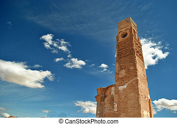the clock tower in Belchite