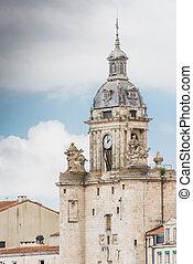 The clock tower in La Rochelle in La Rochelle in Charente-Maritime region in France