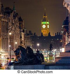 The Clock Tower seen from Trafalgar Square at night
