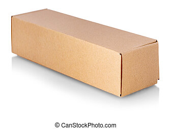 The close up cardboard box taped up and isolated on a white background.