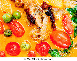The Closeup of red curry with  roast duck thai style