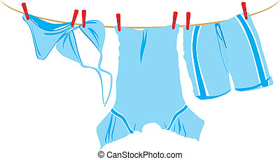 The clothes dry on a cord. Vector illustration