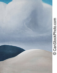 The cloud serene landscape oil painting