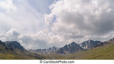 The clouds over the peaks of Kyrgyzstan. Zoom. Time Lapse