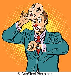 The clown looks at his watch, pop art retro vector...