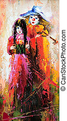 The clown with a violin and the girl with an accordion