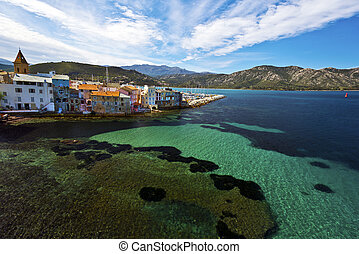 The coast of Saint Florent Bay in Corsica - Coastline of ...