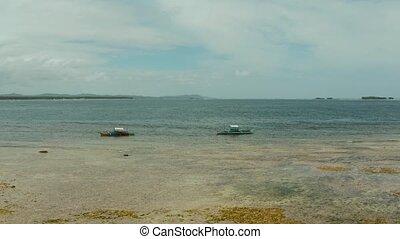 The coast of Siargao island at low tide. - Coastline island...