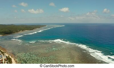 The coast of Siargao island, blue ocean and waves. - The...
