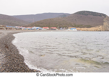 The coastal strip in the bay of the village of Sukko spring, a suburb of Anapa