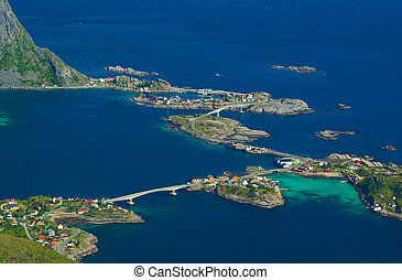 The coastal town of Reine on the Lofoten in Norway photographed from above from the Reinebringen