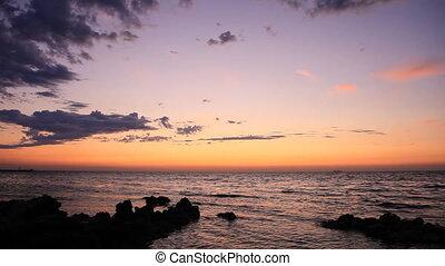 The coastline at sunset