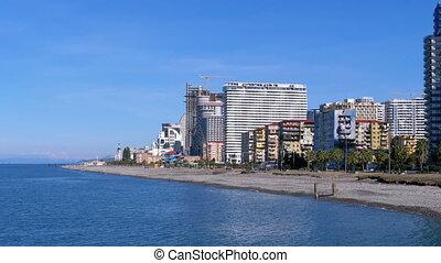 The coastline of Batumi Embankment in October. Deserted...