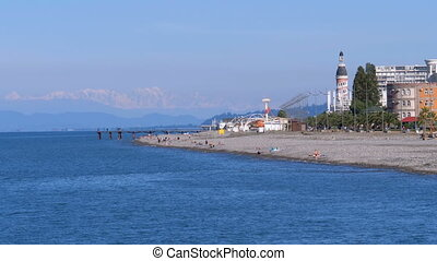 The coastline of Batumi Embankment in October. Deserted...