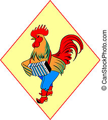 The cock in boots with an accordion