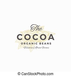 The Cocoa Organic Beans Abstract Vector Sign, Symbol or Logo...