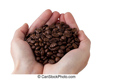 The coffee beans in a hands