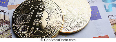 The coin of crypto currency bitcoin
