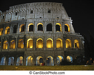 The Coliseum - Night shot of the Coliseum in Rome, Italy,...