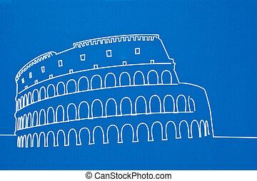 coliseum - the coliseum on a blue background