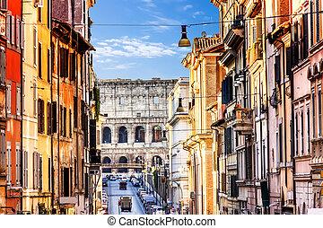 The Coliseum View from Italian Street Via degli Annibaldi