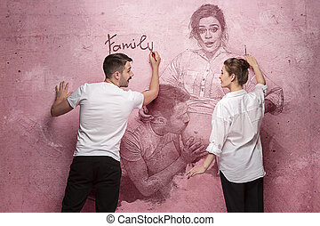 The collage about couple writing something on a pink wall....