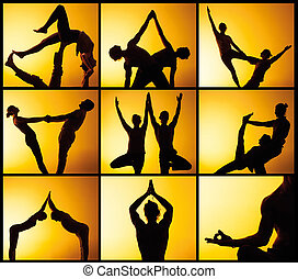 The collage from images of two people practicing yoga in the sunset light