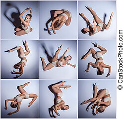 The collage from images of young beautiful dancer in beige...
