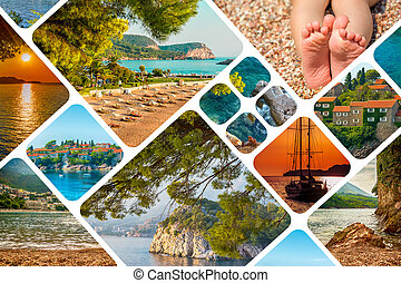 The collage of Montenegro landscape summertime