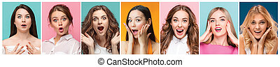 collage of photos of attractive smiling happy women
