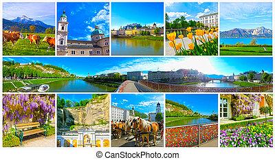 The collage of view of Salzburg skyline with river Salzach, Salzburger Land, Austria