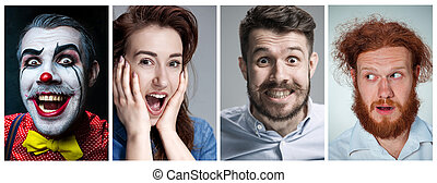 The collage of young man and woman face expressions - The...