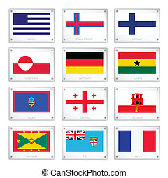 The Collection Flags on Metal Texture Plates