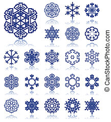 The collection of icons of snowflakes of dark blue colour. A vector illustration