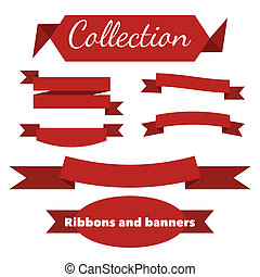 The collection of retro ribbons banners