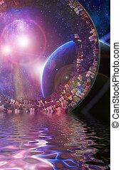 Huge City Multi-Generational City Ship Encounters New Planet