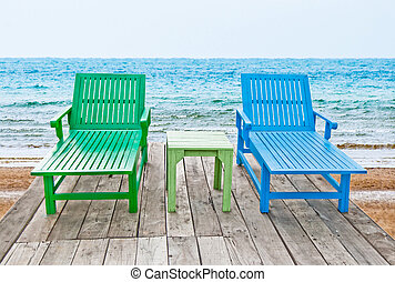 The Color of long chair on beach