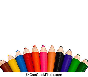 The Color pencils isolated on white background