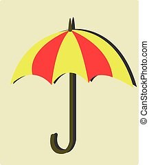 the yellow and red umbrellas