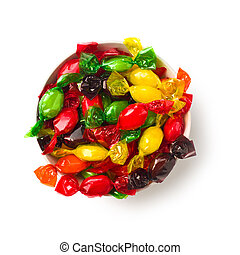 colored candy wrapped in foil