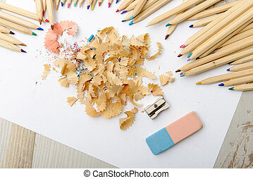 colored pencils, eraser and pencil sharpener