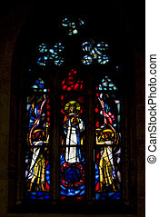 the colored rose window in santa chiara