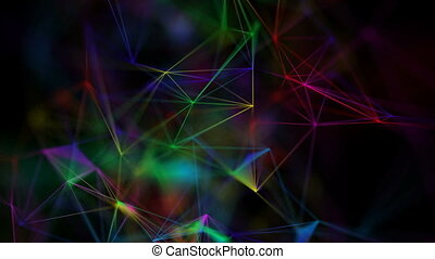 the colored web spins in space. seamless loop