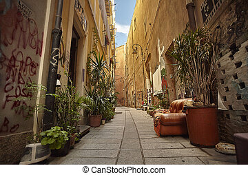 The colorful alley of Cagliari.